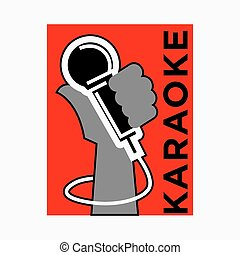 Karaoke club label of vector microphone in hand for party bar