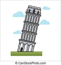 Leaning tower monument - Vector illustration of leaning...