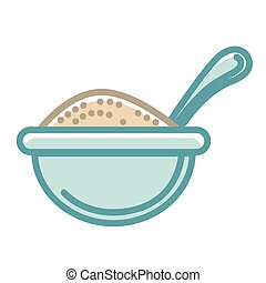 Big blue bowl of healthy porridge with spoon isolated vector...