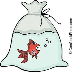 Red fish inside the plastic bag - Scalable vectorial image...