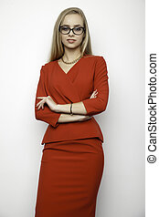 blonde businesswoman - business concept - portrait of a...