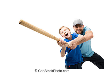 Happy father teaching his son how to play baseball isolated...