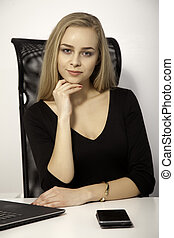 pretty blonde businesswoman - business concept - portrait of...