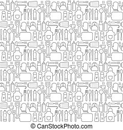 Seamless background pattern of Cooking Kitchen utensil icons