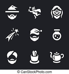 Vector Set of Magic Icons. - Magician, fairy, sorceress,...