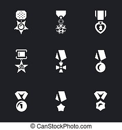 Vector Set of Military Award Icons. - Order, medal, purple...