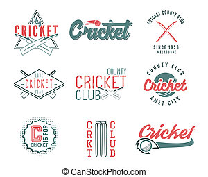 Set of retro cricket sports template logo designs. Use as...