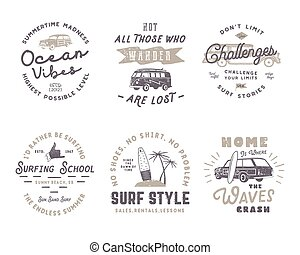 Set of Vintage Surfing Graphics and Emblems for web design or print. Surfer logotypes. Surf Badges. Summer fun typography insignia collection. Stock Vector hipster patches isolated on white