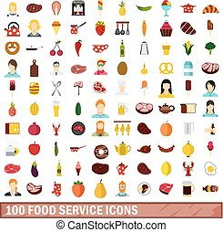 100 food service icons set, flat style - 100 food service...