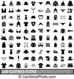 100 clothes icons set, simple style