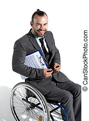 smiling physically handicapped businessman in wheelchair...