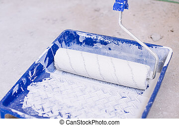 Blue bucket with paint and a brush roller paint tray - Blue...