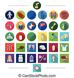 decorations, business, animals and other web icon in flat style. hairdresser, textile, restaurant, icons in set collection.
