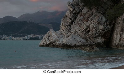 View of Boka Kotorska bay on summer evening. Cove is...