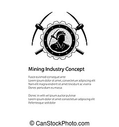 Miner Holding a Pickax in a Gear and Text - Poster of the...