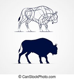 Bison Mascot - Horned Bison Silhouette with Sketch Template...