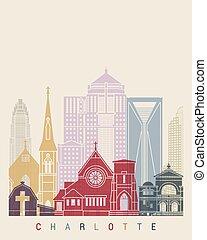 Charlotte V2 skyline poster in editable vector file