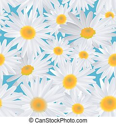 White daisy flower on blue. Seamless background