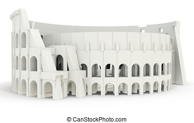 3d white roman colosseum on white background 3D illustration...