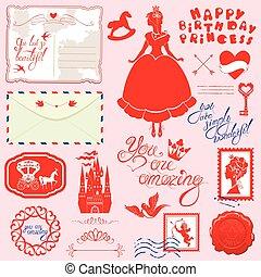 Set of vintage postcards, post stamps, envelope, handwritten...