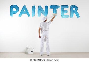 青, 壁, テキスト, 隔離された, ペンキ, ブラシ, ブランク, 白, 図画, 画家, 人