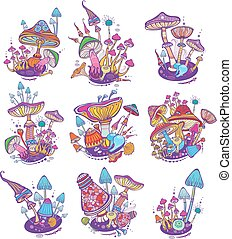 Groups of decorative mushrooms on white