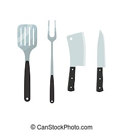 Cutlery - cleaver, spatula, fork, knife. Metal utensil, home tools. Vector