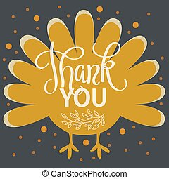Thankyou. Happy thanksgiving day. Hand lettered vector...