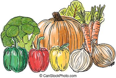 Types of fresh vegetables still life