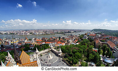 Panoramic view on Budapest from buda castle hill, Hungary....