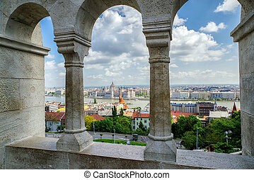 Hungarian parliament from Fisherman's bastion in Budapest -...