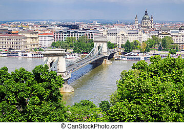 Budapest from Buda castle hill, Hungary - Chain bridge in...
