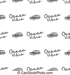 Surfing old style car pattern design. Summer seamless wallpaper with surfer van, ocean vibes typography sign. Monochrome combi car. Vector. For fabric printing, web projects, t-shirts or tee designs.