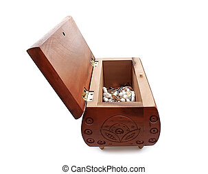 Jewelry Box - An open casket for jewelry made of wood with...