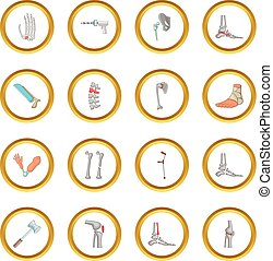 Orthopedic and spine icons circle gold in cartoon style...