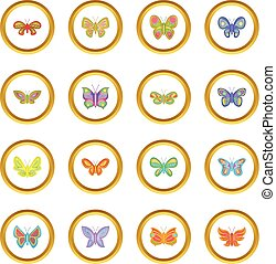 Butterfly fairy icons circle