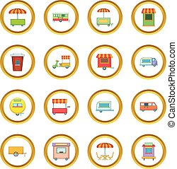 Street food kiosk vehicle icons circle gold in cartoon style...