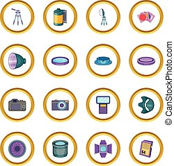 Photo studio icons circle gold in cartoon style isolate on...