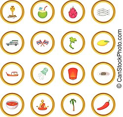 Thailand symbols icons circle gold in cartoon style isolate...