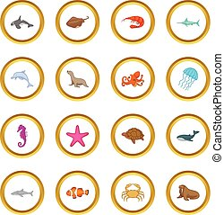 Ocean inhabitants icons circle gold in cartoon style isolate...