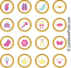 Princess doll icons circle