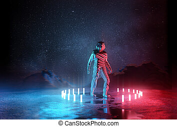 Almost Human. Strange Futuristic spaceman illuminated by red...