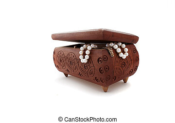 Jewelry Box - Closed casket for jewelry made of wood with...