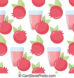 Pomegranate juice vector seamless pattern