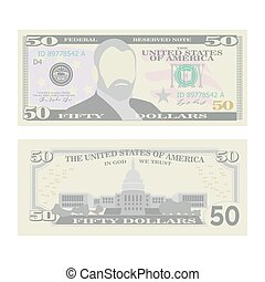 50 Dollars Banknote Vector. Cartoon US Currency. Two Sides...