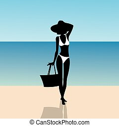 Silhouette of a girl on the beach