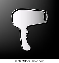 Hair Dryer sign. Vector. Gray 3d printed icon on black background.