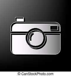 Digital photo camera sign. Vector. Gray 3d printed icon on...