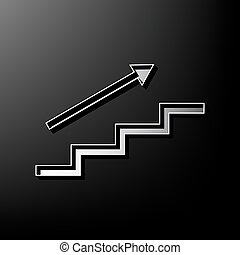 Stair with arrow. Vector. Gray 3d printed icon on black background.