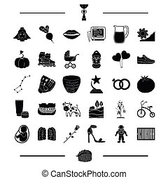 baseball, mine and other web icon in black style.plants, travel, shoes icons in set collection
